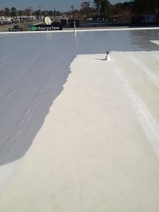 Flat Roof During Coating